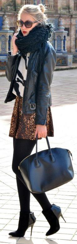 Leather and Leopard  OMGbebe.com style: Street Style, Fall Outfit, Animal Prints, Fashion Inspiration, Fall Fashion, Leather Jackets, Fall Winter, Wear