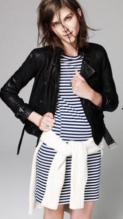 Leather jacket & Striped dress // Madewell: Style Inspiration, Outfit, Styles, Leather Jackets, Stripes, Fall Winter