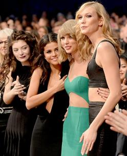 Lorde, Selena Gomez, and Karlie Kloss supported Taylor Swift as she went up to receive the Dick Clark Award at the 2014 AMAs.: Selena Gomez, Taylor Swift, Karliekloss, Taylorswift, Lord, Karlie Kloss, Selenagomez, American Music