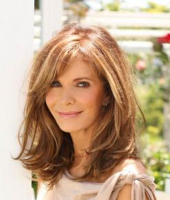 Love the brown on brown highlighted color and the lightly layered cut with long side swept bangs.. I wonder if this is too old for me?: Jaclyn Smith, Hairstyles, Medium Length, Hair Styles, Hair Cut, Haircut, Long Bob, Hair Color