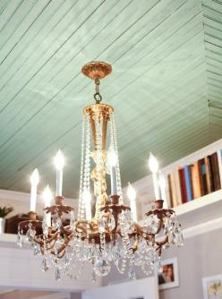 love the ceiling color, maybe do a beadboard wallpaper inside the hutch and paint it this color: Ideas, Beadboard Ceiling, Lighting, Color, Dream House, Chandeliers, Painted Ceilings