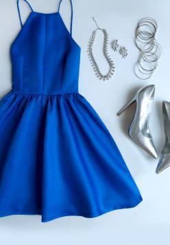 love the dress, but I think gold jewelry and shoes would look better: Cobalt Blue Dress, Halter Esque, Style, Formal Outfit, Cute Dresses, Classy Homecoming Dress, Halter Homecoming Dress