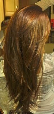 """Love the shape of this hair. Focus on """"pointy"""" ends , v shape. - More layering at the crown and nice, long-ish sideswept bangs again. Want this!: Haircuts, Hairstyles, Hair Styles, Long Hair, Hair Cut, Hair Makeup, Hair Color"""