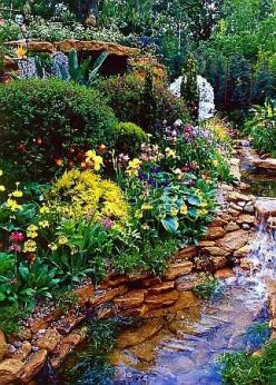 Love the waterfall and rock stream in this flower garden.  Would love to revamp ours to look like this . . . hmmm!: Pretty Yard, Water Features, Gardens, Backyard, Landscape, Flowers Garden, Water Garden