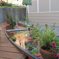 love this...a canoe pond. what a great idea for a pond on a deck: Ideas, Ponds, Pond Idea, Water Features, Outdoor, Canoe Pond, Water Garden