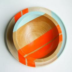 Modern Neon Hardwood Salad Bowl by Nicole Porter Design: Porter Design, Neon Hardwood, Electric Orange, Salad Bowls, Modern Neon, Hardwood Salad
