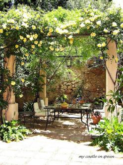 my castle in spain: A little haven in Andalucia : Cortijo del Pino in Albuñuelas: Outdoor, Climbing Roses, Gardens, Garden Patio, Castle, Pergola, Backyard, Garden