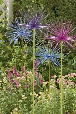 My mother has these in pink, blue, purple, and yellow scattered throughout her garden and they are VERY CUTE!… Everlasting Alliums (set of 2 in same color) ……………… By Gardener's Supply Co. (gardeners.com): Garden Decor, Garden Ideas, Garden Art, Yard A