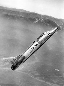 North American F-100A (S/N 52-5760, fifth production -A model) at a 45-degree climb.: North American, F 100 Super, Airplanes, American F 100A, Aircraft, Photo