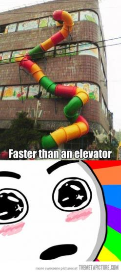 OMG! The whole world should operate this way! Think of how much more awesome the Empire State building would be! :O: Elevator, Face, Be Real, Empire State Building, Childhood Dream, Be Awesome