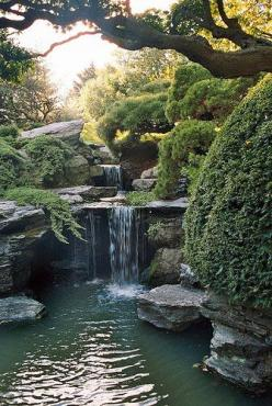 Once again...I fell in lust with Japanese gardens when I first started because of scenes like this. How can you be angry or worried here?: Brooklyn Botanical, Water Features, Japanese Gardens, Waterfeature, New York City, Garden Waterfalls, Botanical Gard
