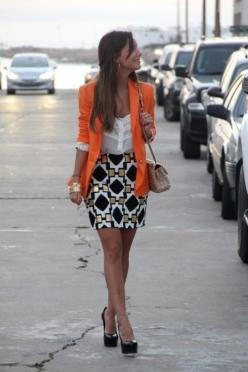 orange blazer, sheer top, patterned skirt, and platform pumps; cute, clean hairstyle: Fashion, Bright Blazer, Skirts, Style, Colored Blazer, Orange Blazer, Work Outfits, Patterned Skirt