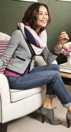 Pair the cropped sweater blazer with a colorful tee, skinny jeans rolled at ankles and peep tee booties.  Love the scarf.: Jacket, Fashion, Style, Clothes, Colors, Outfit, Fall Winter