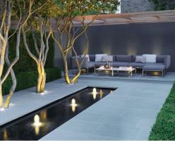 paved+garden+outdoor+furniturecity+garden+urban+lights+external+pond.png 569×456 pixels: Ideas, Exterior, Water Features, Gardens, Backyard, House, Modern Garden, Design