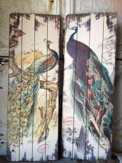 "Peacock Planks  Set of 2 by SassyVintageBarn on Etsy, $89.99/20$ ship within the US/ other shipping rates/places avail. This beautiful wood peacock planks will make any room complete! Wood with print on top 15"" x 43""(each): Wall Art, Decor Ideas,"