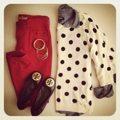 Polka, chambray and red skinnies: Fashion, Polka Dots, Style, Polka Dot Sweater, Tory Burch, Work Outfit, Polkadots, Fall Winter, Red Pants