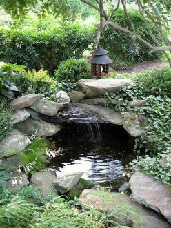 Pond idea for the front corner of our landscape.--Always remember when building.. the waterfall.. to make it overhang a bunch..to make an echo.. in the pond: Ponds, Pond Ideas, Water Features, Waterfall, Water Garden, Photo