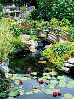 Pond Perfect  A restful landscape includes an expansive pond.  -- A bench, chair, and table offer a quiet alcove overlooking the expansive lily pond.  -- An arched bridge takes garden visitors over the water below.: Garden Ideas, Water Gardens, Water Feat