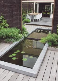 Pond reflected in mirror-tricked my eyes!: Idea, Water Features, De Tuin, Outdoor, Gardens, Tuin Voor, Modern Pond