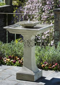 Portwenn Fountain, birdbath style tiered water fountain. Modern Square shape!: Water Fountain, Portwenn Fountain, Style, Water Features, Bird Baths, Campania International, Square, Garden Fountains