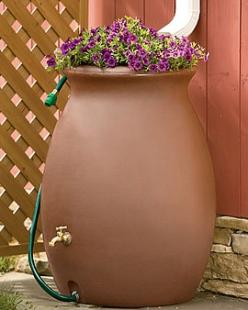 rainwater urn for under rain chain downspout (with top pot for planting) love the pot on top!: Rainwater Urn, Water Barrels, Rainbarrels, Style, Rain Barrels, Gardening Ideas, Rain Water Barrel