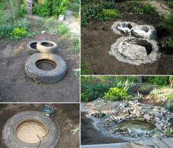 Recycled Tires Pond: Ponds, Ideas, Old Tires, Water Features, Recycled Tires, Gardening, Tire Pond, Diy