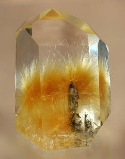 + Rutilated Quartz | Rutilated quartz is quartz stone with rutile enclosures. Rutile is a mineral that is made up mostly of titanium dioxide, or TiO2. As a mineral, rutile is very high on the refractive index and disperses more than almost any other miner