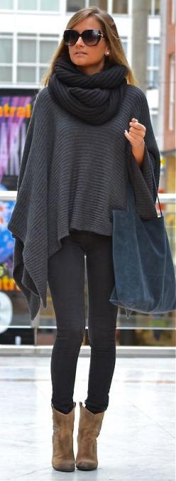 scarf with poncho, leggings and cowboys boots: Sweater, Fall Style, Poncho, Street Style, Bag, Fall Outfits, Ray Ban, Fall Winter