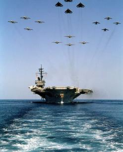 sea-level look at an aircraft carrier with 16 military jet fly over in formation: Battleships Warships, Military Ships, Military Jets, America Cv 66, Navy Ships, Boats Yachts Warships, Liners Boats Warships Big, War Ships, Aircraft Carriers