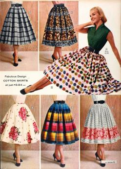 Sears Catalog, Spring/Summer 1958 - Women's Dresses - I absolutely adore this style skirt! Some of these color and pattern combos are a bit wild for today but I love the blue gingham on the top left. <3: Skirts, Vintage Fashion, Woman Dresses, Spri