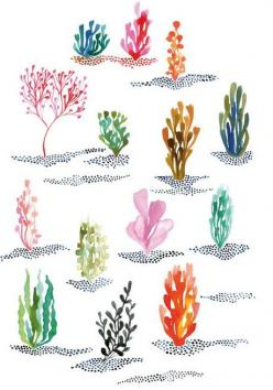 seaweed in hair as accents (like how people wear those feathers in their hair): Coral Reef, Art Watercolor, Seaweed Watercolor, Watercolors, Underwater Painting, Watercolor Illustration, Water Color, Underwater Watercolor