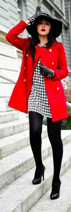 Shop this look on Lookastic:  http://lookastic.com/women/looks/hat-coat-gloves-sheath-dress-tights-pumps/7183  — Black Wool Hat  — Red Coat  — Black Leather Gloves  — White and Black Houndstooth Sheath Dress  — Black Wool Tights  — Black Leather Pumps: Fa