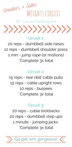 Shoulders & Glutes - 9/26: Weight Workouts For Women, Barbie Workouts, Lg Workouts, Circuit Training Workouts, Workout Circuit, Total Body Workouts, Weight Training Workouts, Circuit Workouts For Women