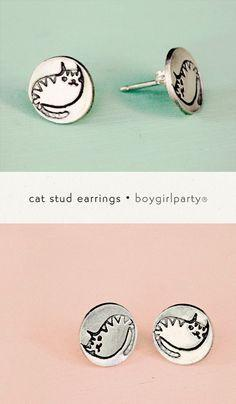 Silver Cat Earrings illustrated by Susie Ghahremani from the boygirlparty shop: http://shop.boygirlparty.com/collections/illustrated-jewelry/products/silver-cat-stud-earrings: Studs, Glorious Cats, Cat Earrings, Adorable Earrings, Stud Earrings, Susie Gha