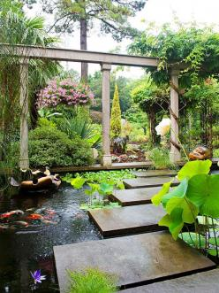 SOMEDAY .... Interact with a Large Pond ..LOVE THE SLABS OVER THE WATER :-): Pond Ideas, Water Gardens, Waterfeatures, Water Features, Koi Ponds, Outdoor, House, Landscape