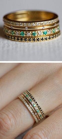 stacked rings.: Stacked Rings, Stackable Birthstone Ring, Pave Ring, Stacking Rings, Engagement Ring