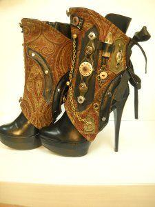 Start with a smaller heel, but I could find some great fabric to cover them with, and then go from there with the metalwork: Steampunk Boots, Idea, Steampunk Fashion, Steampunk Shoes, Steampunk Heel, Steampunk Style, Steam Punk, Steampunk Spats