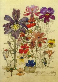 Studied a little about this guy in History of Interiors. A true artist and designer of everything - Charles Rennie Mackintosh: Botanical Illustration, Butterflies, Rennie 1868, Art, Charles Rennie Mackintosh, Painting, Floral