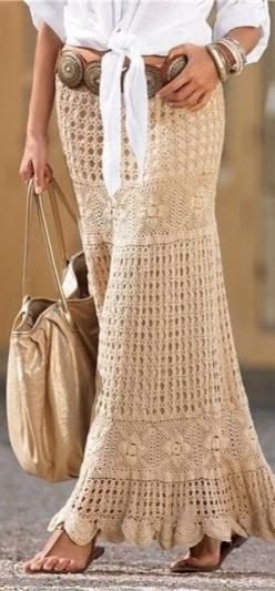 Summer Boho Chic skirt: Fashion, Style, Outfit, Crochet Skirts, Crochet Maxi, Maxi Skirts