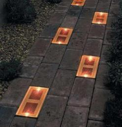 Sun Bricks are solar powered outdoor light fixtures that can be built into a brick or stone walkway. Unlike traditional outdoor lights, sun bricks are designed to be flush with the ground, giving the effect of an illuminated pathway, rather than a path th