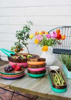 table: Sfgirlbybay Anthropologie, Plates And Bowls, Outdoor Table, Colorful Servingware, Colorful Plates, Colorful Dish Sets, Wooden Dinnerware, Wooden Plates