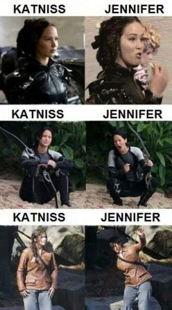 The difference between Jennifer Lawrence and Katniss… Love Jennifer Lawrence!: Hunger Games, Funny, Hungergames, The Hunger Game, Jenniferlawrence, Jennifer Lawrence, J Law