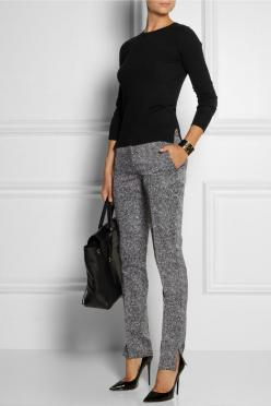 Theory | Wool-blend sweater, Antonio Berardi pants, Jimmy Choo shoes, and 3.1 Phillip Lim bag.: Winter Work Outfit, Winter Office Outfit, Chic Work Outfit, Wool Blend, Office Work Outfit, Casual Work Outfit, Business Outfit, Work Outfits
