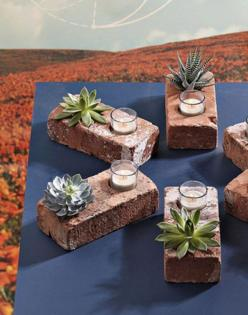 These would be cute to line a path but with solar lights where the candles are!!!: Ideas, Craft, Brick Planter, Bricks, Delicious, Garden, Diy
