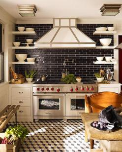 Think of all the gorgeous meals you would cook in this kitchen!: Kitchens, Stove, Interior, Idea, Floor, Black Tile, Design, Black Subway Tiles