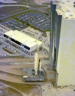 This aerial view of STS-1 shows the space vehicle for the first Space Shuttle mission shortly after it was moved out of the Vehicle Assembly Building.: Space Vehicle, Aircraft Airship Spacecraft, Launch Complex, Mission Shortly, Aerial View, Space Shuttle