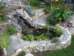 This could be our answer for a drainage water problem.  Love it.: Backyard Layout, Backyard Waterfalls, Backyard Someday, Backyard Future, Outdoor Pond, Above Ground Pond Ideas, Fish Ponds