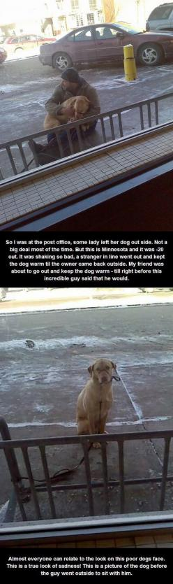 This dog needs booties and a jacket.  Or better yet, leave him at home.  He doesn't need walkies in -20 weather.  Dogs get cold too…: This Man, Dog Owners, Dogs, Guy, Animal Cruelty, Faith In Humanity Restored, Random Acts Of Kindness, Awesome Humanit