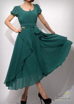 This dress is made of chiffon, it is draping and flowing. It is good for everyday work and going out to play.$95.00: Long Emerald Green Dress, Bridesmaid Dresses, Modest Long Dress, Long Bridesmaid Dress, Long Sleeve Bridesmaid Dress