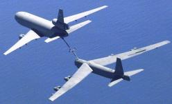 This is a B-52 Stratofortress refueling from a KC-10 aerial tanker. The B-52 is one of several aircraft operated as the United States' aerial nuclear deterrence.: Aviation, Military Aircraft, Bomber Aircraft, B 52, Refueling Planes, Planes Aircraft, C